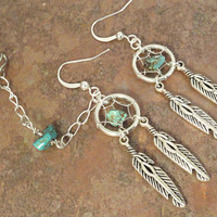 Turquoise Dream Catcher Asymetrical Ear Cuff Earrings Feathers and Chain