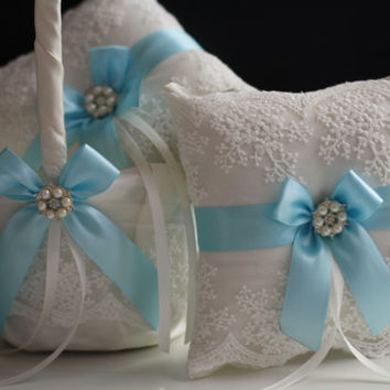 Sky Blue Wedding Pillow Basket Set \ Light Blue Flower Girl Basket and Ring Bearer Pillow \ Ivory Blue Lace Ring Holder + Petals Basket Set