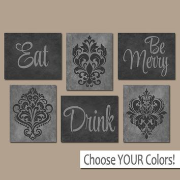EAT DRINK be Merry Wall Art Canvas or Prints Black Gray Kitchen Decor, Dining Room Pictures, Trellis Pattern, Home Decor Set of 6 Pictures