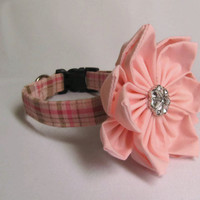 Dog Collar and flower - MADE TO ORDER  Pink and Brown Plaid and light pink matching flower- Adjustable Cotton Dog Collar