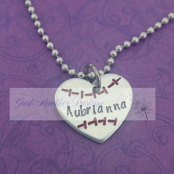 Softball name necklace- child's jewelry