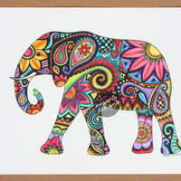 Original Watercolor Ink Elephant Painting Art - 9x12 Elephant Colorful Paint and Ink Wall Art Summer Boho Hippie Drawing Hand Painted Flower