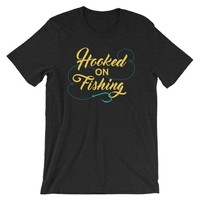 Dad Birthday Fishing Shirt Gift - Hooked On Fishing Birthday Present - Gift for Dad Gifts - Fishing Shirt Fish Tshirt Tee - Father In Law