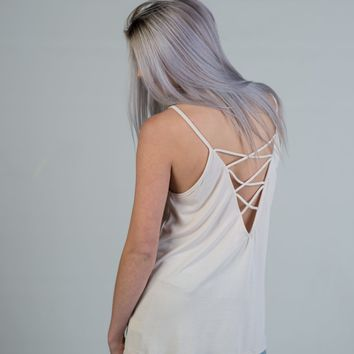 Ivory Halter Top with Criss Cross Back