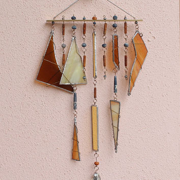 Stained Glass Wind Chimes Brownss and Yellows Large Garden Decor Windchime