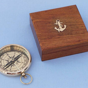 Solid Brass Beveled Lensatic Compass w/ Rosewood Box 4""