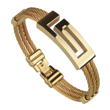 Full Gold Plated Wire Cable Men Charm Bracelets Bangles High Quality Titanium Steel New 2016 Men Fashion Jewelry