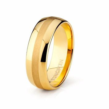 Mens Wedding Band Yellow Gold Ring Brushed Tungsten Carbide 8mm 18k Tungsten Ring Male Engagement Ring Man Anniversary Promise High Polished