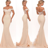 New Arrival Sweetheart Mermaid Prom Dresses 2016 Appliques Off the Shoulder Sweep Train Party Evening Gowns