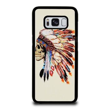 INDIAN FEATHER SKULL Samsung Galaxy S3 S4 S5 S6 S7 Edge S8 Plus, Note 3 4 5 8 Case Cover