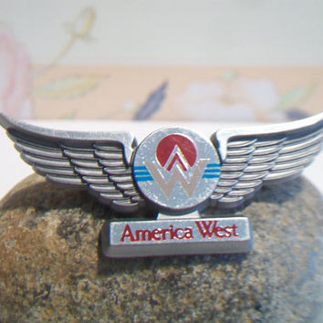 Vintage America West Airlines Pin Flight Attendant Stewardess Junior Pilot Uniform Wings