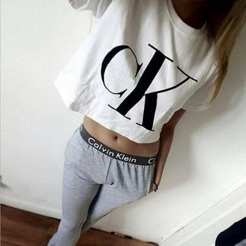 Fashion Letters Print Short Sleeve Sports Suit