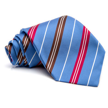 Kiton Blue with Red and White Stripe Tie
