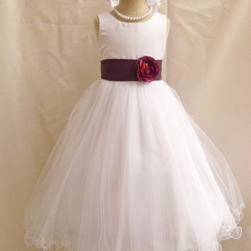 Flower Girl Dress Curly Bottom Dresses WHITE Wedding Summer Christmas Easter Recital Pageant Bridesmaid Communion Church Toddler Baby Cheap