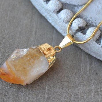 Citrine necklace, crystal pendant, wire wrapped crystal, statement necklace, boho necklace, natural jewelry, rock necklace, healing necklace