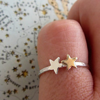 Tiny star ring stackable in sterling silver and gold brass - mixed metal jewelry
