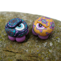 One eyed wonder bugs, mated pair, lovely millefiori flower patterns, polymer clay