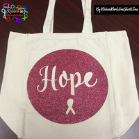 Breast Cancer Hope Pink Glitter Tote Bags