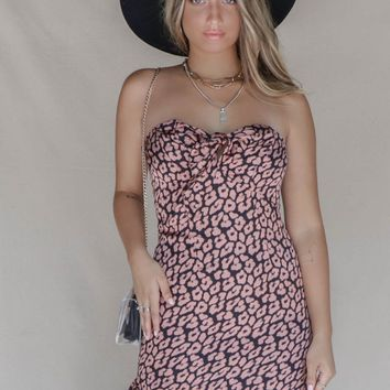 Stay Now Satin Pink Leopard Strapless Dress