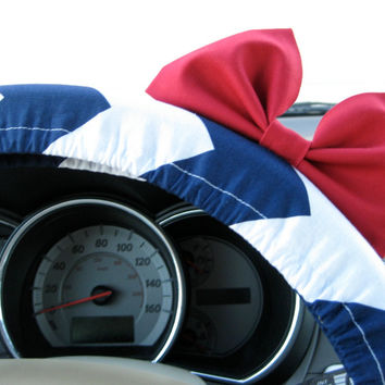 The Original Navy and White Chevron Steering Wheel Cover with Matching Bright Red Bow