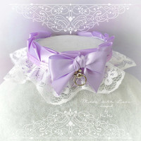 Choker Necklace ,Kitten Pet Play Collar, DDLG Lilac Purple White Lace Ruffles Bow O Ring , Babe Jewelry pastel goth Lolita BDSM