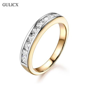 GULICX Simple Circle Channel Set 2017 Romantic Engagement Accessories Gold-color Row Cubic Zirconia Rings For Women New