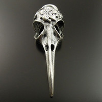 SALE 4 Antiqued Silver Bird Raven Crow Skull With Flower Pendant Gothic Charm 4573