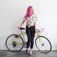 I like to ride my bicycle blouse . colorful bike print shirt .large