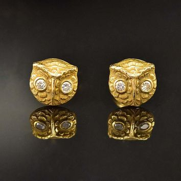 Fine Vintage 14K Gold and Diamond Owl Stud Earrings a328a38037