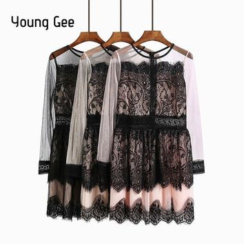 Young Gee Women Vintage Long Sleeve Floral Lace Party Dress Cute Cocktail Bow Gown Swing Dresses Vestido de festa Robe Femme