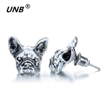 2017 New Summer Style Hippie Chic French Bulldog Stud Earrings Elf Ears Cuff Pendiente Animl Dog Earrings for Women Fine Jewelry