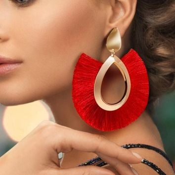 Fashion Tassel Earrings Big Fringe Earrings Bohemian Hanging Statement Circle Drop Earrings