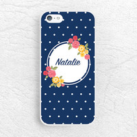 Navy Polka Dots Monogram phone case for iPhone, Sony z1 z2 z3, LG g3 g2, Moto X Moto G, HTC One m7 m8, personalized custom name floral case