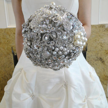 Custom Jeweled Bridal Brooch Bouquet You Choose Colors Vintage Gatsby Style Old Hollywood Wedding
