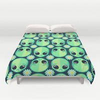 Sad Alien and Daisy Nineties Grunge Pattern Duvet Cover by chobopop