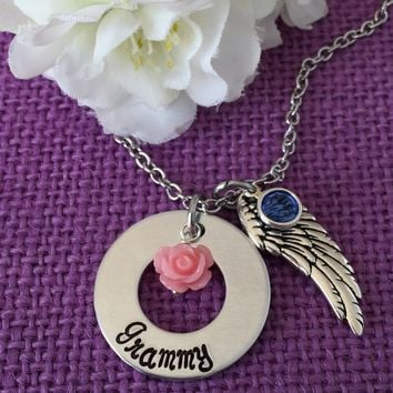 Memorial Jewelry Necklace - Remembrance Jewelry - In Memory - Sympathy Gift - Angel Wing - Grammy - Mama - Papa - personalized