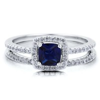BERRICLE Sterling Silver Cushion Simulated Blue Sapphire Cubic Zirconia CZ Halo Engagement Ring Set