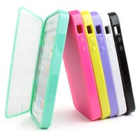 TPU Wrap Up Phone Case Cover w/ Built in Screen Protect for Apple iPhone 5S 5
