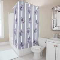 Lavender Gray Flower Bud on Gray Stripes Shower Curtain
