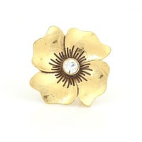 Gold-Tone Metal Flower Crystal Ring