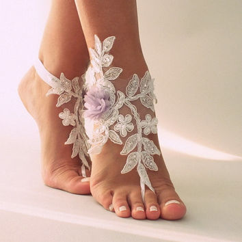 Free Ship white lace beach wedding barefoot sandals, lilac flowers sandals,  lace Barefoot Sandals, anklet, belly dance wedding photography
