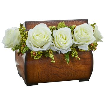 Artificial Flowers -Roses White Arrangement in Decorative Chest