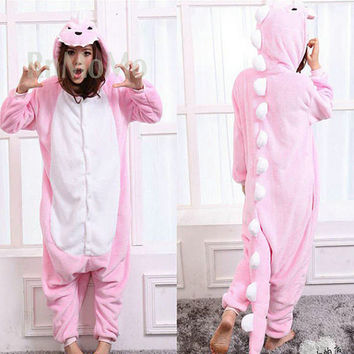 KIGURUMI Cosplay Romper Charactor animal Hooded Night  clothes Pajamas Pyjamas Costume sloth  outfit Sleepwear -pink  dinosaur