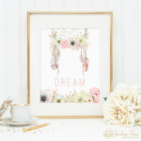 Dream dreamcatcher printable, feather boho dreamcatcher printable wall art, bedroom decor, home decor, watercolor dreamcatcher art print