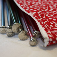 Zipper Pouch  / Knitting Needle Case / Pen Pencil Case / Red with white berry vine