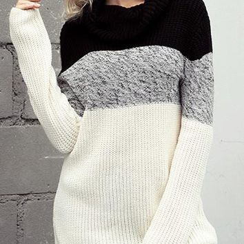 New Black White Patchwork Cowl Neck Long Sleeve Casual Pullover Sweater