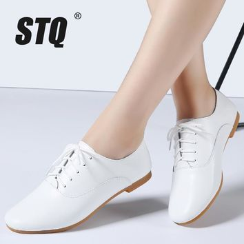 STQ 2017 Autumn women oxford shoes ballerina flats shoes women genuine leather shoes m