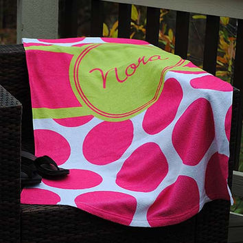 Large Pink Dot - Beach Towel