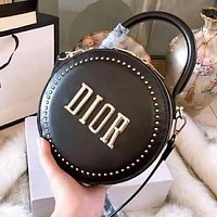 DIOR High Quality Fashion Women Leather Delicate Circular Rivet Handbag Tote Shoulder Bag Crossbody Satchel Black