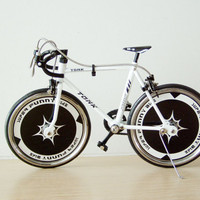 Black and white racing bicycle miniatiure, die cast metal alloy, collectible  toy bike